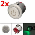 12V 22mm Green Power Push Button Autolock LED ON OFF Switch 2Pcs