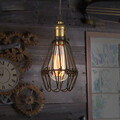 Vintage Restoring Ancient Ways Droplight Bulb Included Pendant Lights Wrought Iron Cage