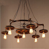 Aisle Chandelier Retro Bedroom Gear Creative Iron Home Furnishing