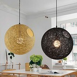 Modern Restaurant Rattan Ball Chandelier Hemp Simple Pastoral