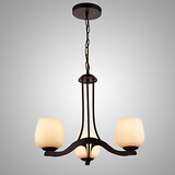 Shade 3 Heads Chandelier Classic Glass Iron Painting Lighting Lamp