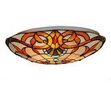 Light Retro Tiffany Glass Ceiling Lamp Fixture Flush Mount 16inch Living Room