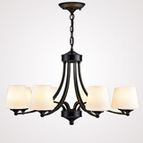Glass Restaurant Chandelier Retro Pendant Light 8 Heads Living Room