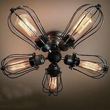 Dining Room Bulb Included Metal Flush Mount Feature For Mini Style Vintage Max 60w Painting