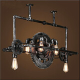 Industrial Wind Lamp Chandelier Iron Hanging Gear Pipe