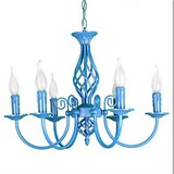 Bedroom Lamp Mediterranean Head Garden Chandelier Lamp Iron Blue Classic