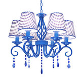 Wrought Iron Bedroom Crystal Mediterranean Droplight Study