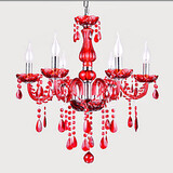 Lights Red Crystal Modern Chandelier Luxury