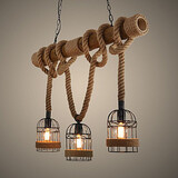 Rope American Chandelier Country Head Bamboo Retro