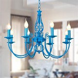 Chandelier Lamp Mediterranean Head Blue Bedroom Iron European Restaurant Garden