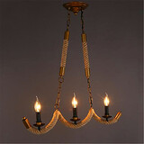 E14 Country Rope Vintage Chandelier Three Industrial American Head