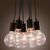 Home Modern Dining Room Ball Glass Head Loft Pendant Light