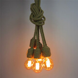 Hemp Edison Chandelier Loft Living Room Office Study Room Vintage 6 Heads