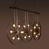 Iron Wheel Clothing Chandelier Store Cafe Bar Retro
