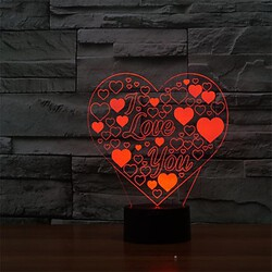 Color-changing Romantic Love Heart 3d Colorful Led 100