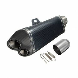 Carbon Double Exhaust Muffler Pipe Outlet 51mm Motorcycle Street Bike Stainless Steel