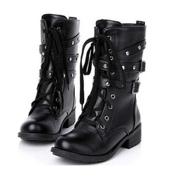 Women Motorcycle Cool Punk Black Boots