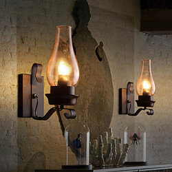 Glass Wall Sconce Bedside Retro Wall Light Industrial Fixture