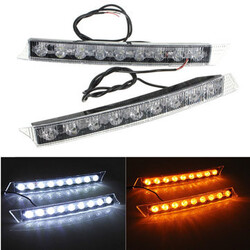 Daytime Running Driving Lights White DRL Turn Signal LED 9LED