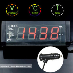 Voltage Meter Digital LED Temperature Thermometer Alarm Display Time 3 in 1 Car