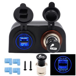 4.2A Dual USB Adapter Cigarette Car Charger with Socket Car Cigarette Lighter