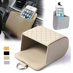 Car Accessories Vehicle Phone PU Pocket Box Organizer Bag Holder Pouch Air