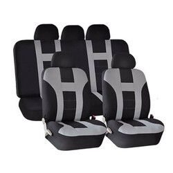 Black Front Rear Washable Universal Car Seat Covers Grey Piece Protectors