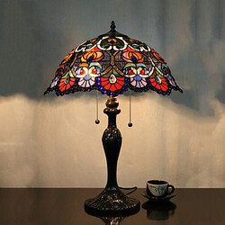 Table Lamp Flower Pattern Alloy Painting Glass Tiffany Light