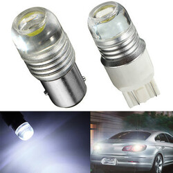 White Car Tail Brake Light 6W Strobe Flashing LED Projector Bulbs