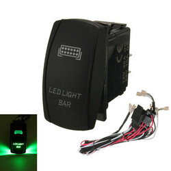 Laser ON OFF Relay Fuse Rocker Switch Green LED Light Bar Wiring Harness Loom