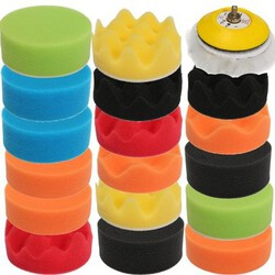 Car Polisher Kit Set Buffing Polishing Pad 18PCS Flat Sponge