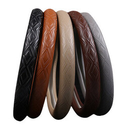 Brown 15 Inches Cover Black Cowhide Leather Steel Ring Wheel Plaited