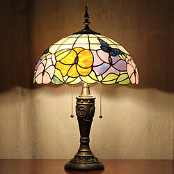 Light Painting Resin Table Lamp Glass Pattern Tiffany