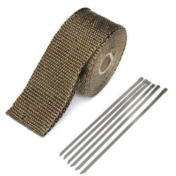 Glass Titanium Fiber With 6 Tape Pipe Ties Wrap Stainless Insulation Exhaust Heat