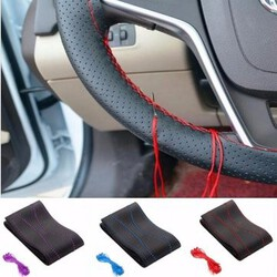 Thread DIY Universal Needles PU Leather Car Steel Ring Wheel Cover with