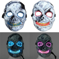 Halloween Fancy Mask Scary LED Costume Adult Skeleton Skull Accessory