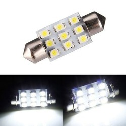 Number Plate 9 SMD Xenon White 38mm 1W LEDs Festoon Bulb Interior Light