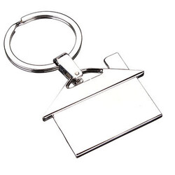 Gift Creative Key Chain Decor Silver Keyring Chrome Metal House Pendant Model