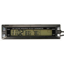 Voltage Meter Thermometer Temperature Auto LCD Digital Clock Battery Car Monitor