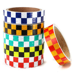 Dual Color Caution Reflective Sticker Chequer Roll Signal Warning