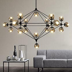 Loft Light Flush Mount Dimmable Glass Chandelier Black