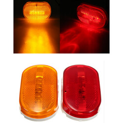 Car Truck Beads Red Yellow Rectangle 6 LED Side Marker Light Indicator Clearance Amber