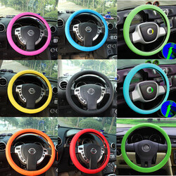 Soft Leather Texture Silicone Color Glove Steel Ring Wheel Car Auto