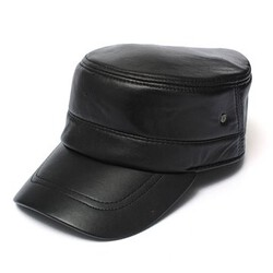 Military Leather Cadet Men Hat Cap Driving Sports Flat
