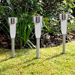 Garden Light Steel Stainless Solar Stake Set Lawn