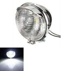 Headlight Head Chrome Case LEDs Lamp 12V Universal Motorcycle