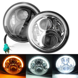 Angel Eyes LED Turn Signal Headlight Hi Lo Beam Harley Davidson DRL 7Inch Jeep Cherokee