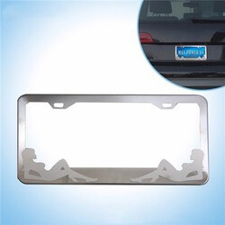Tirol Car Stainless Steel Tag License Plate Frame Drawing Girl Polished Metal