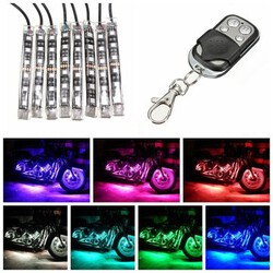 Remote RGB LED Kit Strip Glowing Motorcycle Sport Bike Light Multi Color