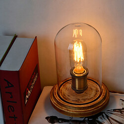 Bedside Bedroom Wooden Bell Table Lamp Modern Glass